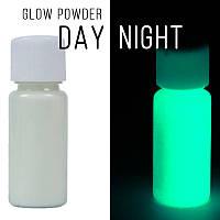 Люминофор бесцветный\зеленое свечение.  Уп. 100 г. Светящийся в темноте пигмент.