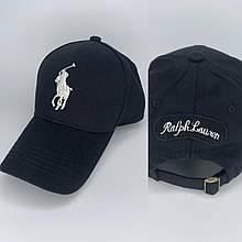 Стильная мужская летняя черная кепка-бейсболка реплика RALPHLAUREN