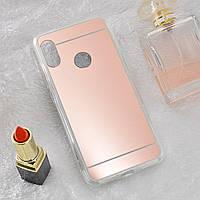 Чехол Fiji Mirror для Honor 8A силикон зеркальный бампер розовое золото