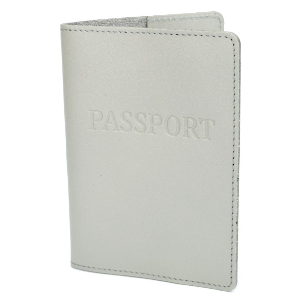Обкладинка на паспорт шкіряна жіноча HC-24 (сіра)
