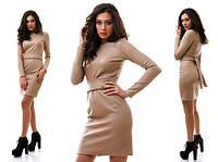 Стильное облегающее бежевое платье из стеганой кожи . Арт-1021