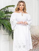 Белое платье  из прошвы большого размера 48-54,56-62