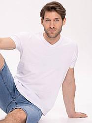 Белая базовая мужская футболка Volcano хлопок 100%