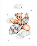 """Панелька з сатину для дитячого пледу """"Ведмедик в літаку"""" 80*100 см, фото 2"""