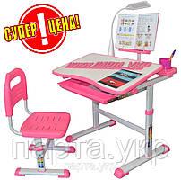 Комплект парта с подставкой для книг, лампой и стулом, розовый