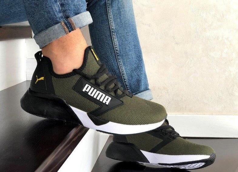 Лёгкие мужские кроссовки сетка в стиле Puma хаки