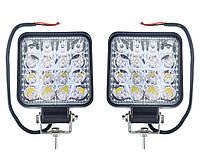 Комплект светодиодных фар 12-24V 48W 6000K (10х8,5см) LED (лэд) фары квадратные на авто, трактор, мото.