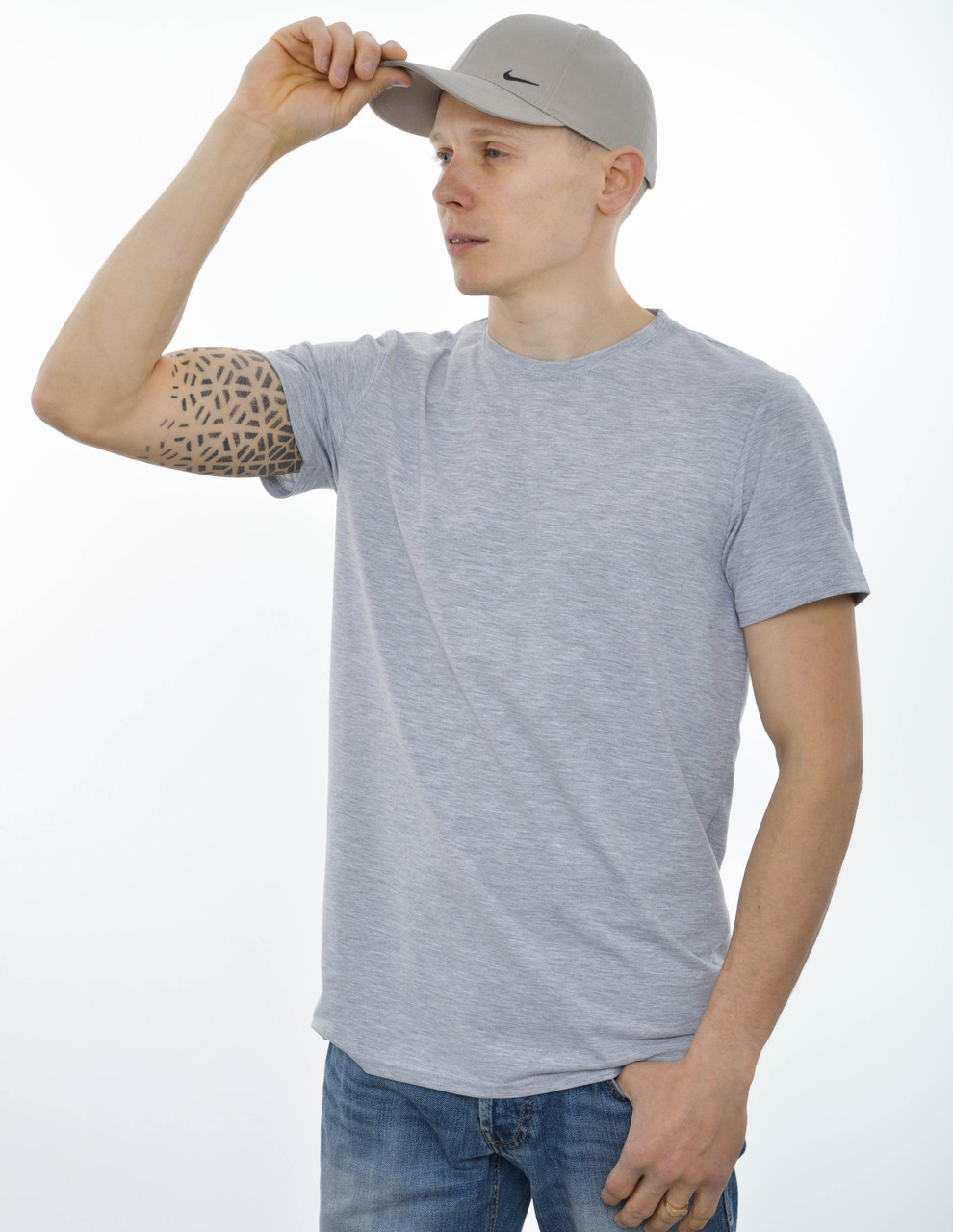 Мужская однотонная футболка 19001 Светлый серый меланж