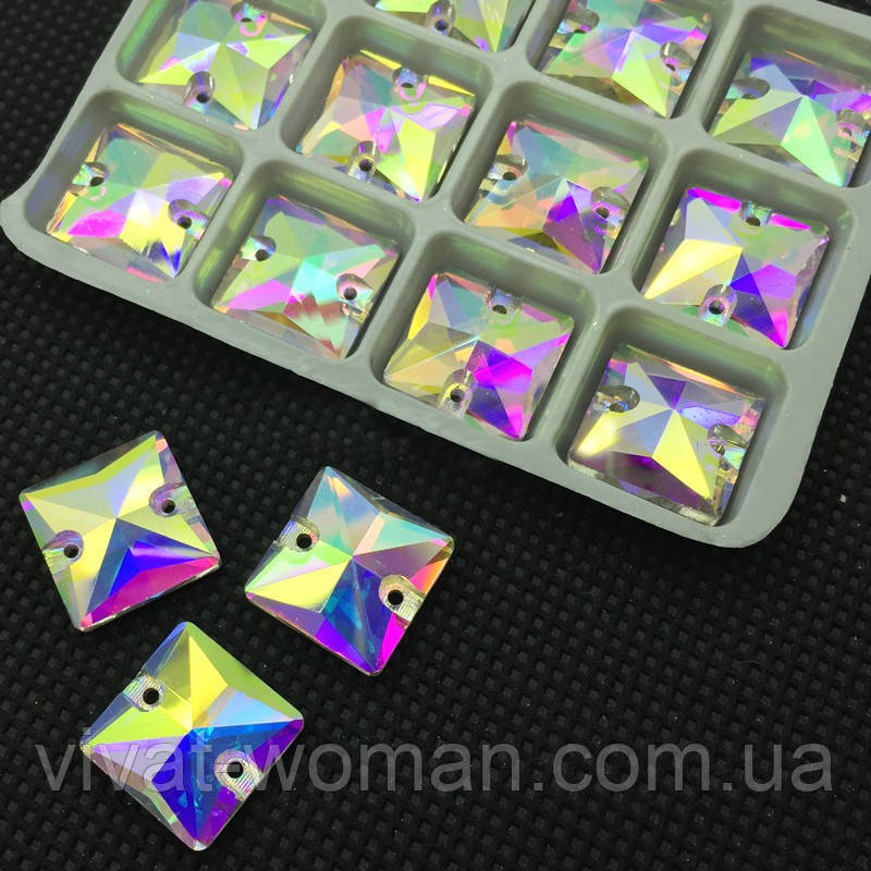 Стразы пришивные Квадрат 12 мм Crystal AB, стекло
