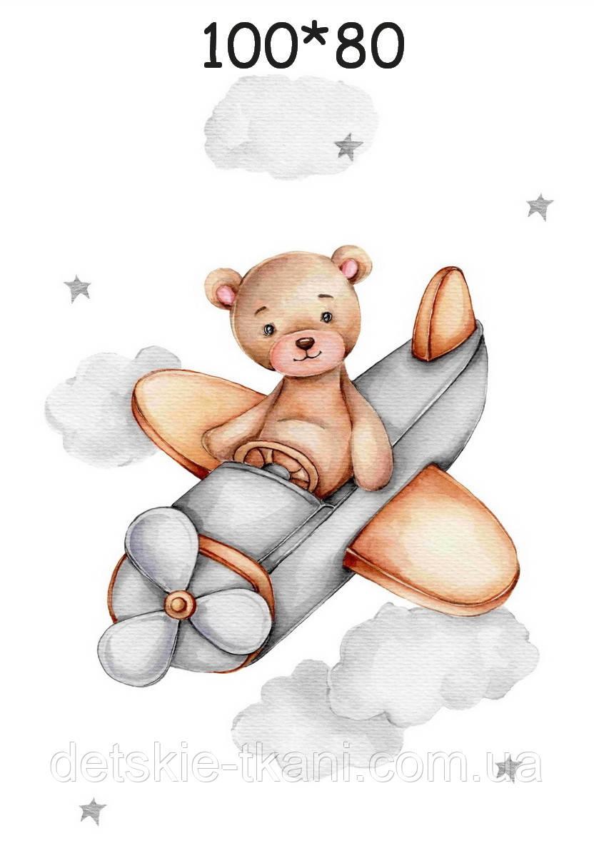 """Панелька з сатину для дитячого пледу """"Ведмедик в літаку"""" 80*100 см"""