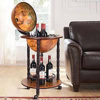 Глобус бар напольный Древняя карта коричневый сфера 36 см 36001R, 46.8*46.8*90