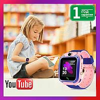 Детские Умные Смарт Часы Телефон c Baby Smart Watch Q12, водонепроницаемые с камерой. Розовые