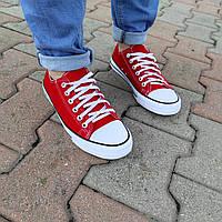 Красные мужские кеды конверсы на белой подошве converse летние тканевые кроссовки