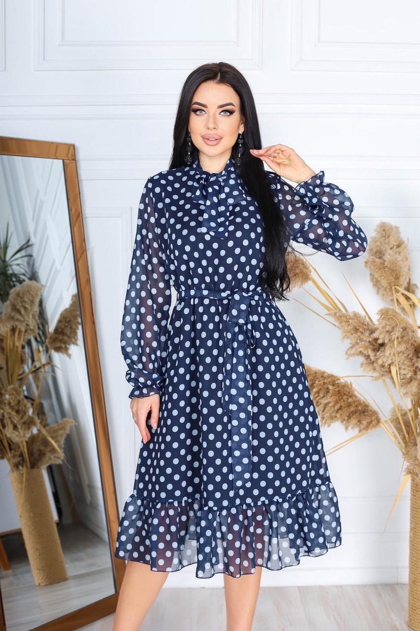 Платье из шифона на подкладке в цветочный принт, 00609 (Индиго), Размер 50 (XXL)