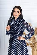 Платье из шифона на подкладке в цветочный принт, 00609 (Индиго), Размер 50 (XXL), фото 2