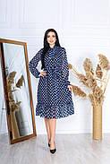 Платье из шифона на подкладке в цветочный принт, 00609 (Индиго), Размер 50 (XXL), фото 3