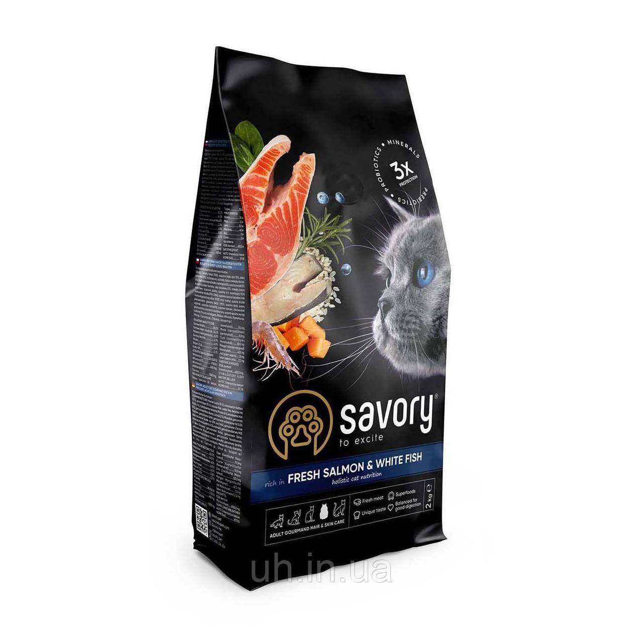 Сухий корм SAVORY Fresh Salmon and White Fish для котів з лососем та білою рибою 2КГ