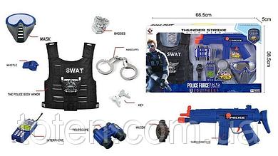 Крутий Поліцейський набір P 013 B тріскачка, маска, жилет, наручн, бінокль