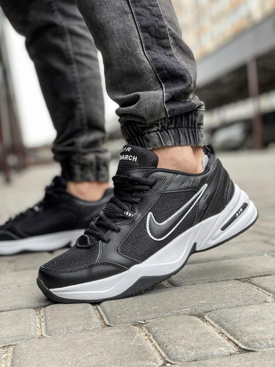 Чоловічі кросівки Nike Air Monarch чорні з білим / чоловічі кросівки Найк Монарх (Топ репліка ААА+)