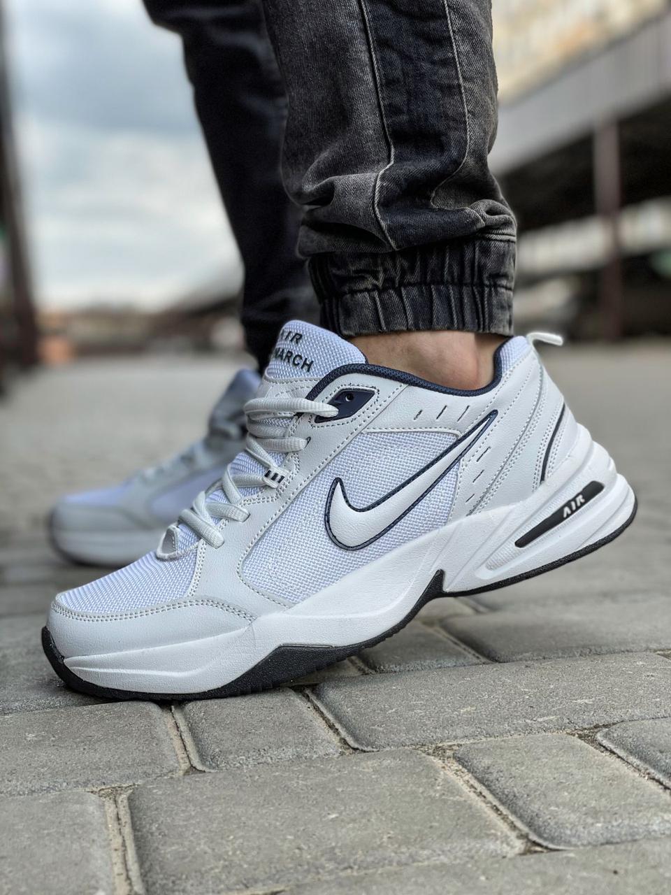 Мужские кроссовки Nike Air Monarch белые / Найк Монарх (Топ реплика ААА+)