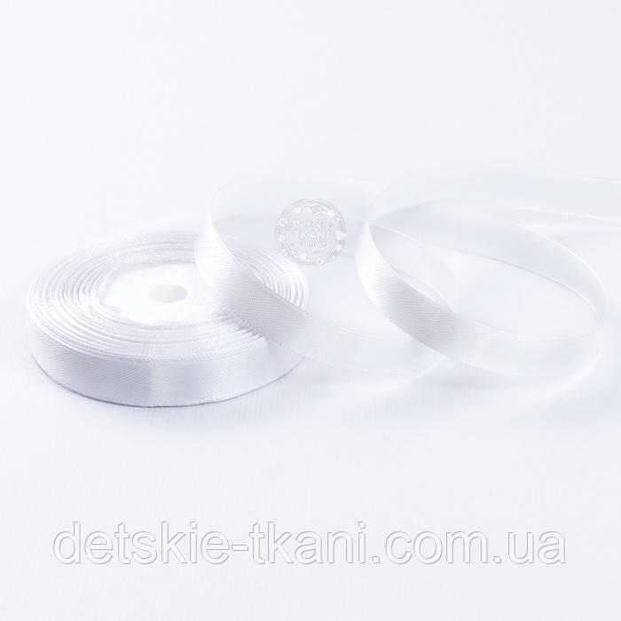 Лента сатиновая 12 мм белого цвета, бобина 23 м
