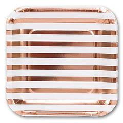 Тарелка фольг  (Pink Gold)  6шт