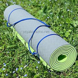 Коврик для йоги и фитнеса двухцветный / Килимок для йоги та фітнесу 173 x 61 x 0,6 см (серый с салатовым)