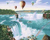 Картины по номерам 40х50 Воздушные шары над водопадом GX28735 ТМ Брашми (BRUSHME)