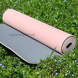 Коврик для йоги и фитнеса  двухцветный / Килимок для йоги та фітнесу 173 x 61 x 0,6 см (розовый с серым)