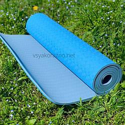 Коврик для йоги и фитнеса двухцветный / Килимок для йоги та фітнесу 173 x 61 x 0,6 см (голубойс серым)