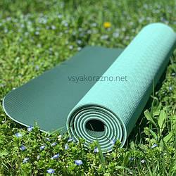 Коврик для йоги и фитнеса двухцветный / Килимок для йоги та фітнесу 173 x 61 x 0,6см (зеленый с темно зеленым)