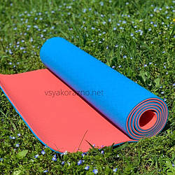 Коврик для йоги и фитнеса двухцветный / Килимок для йоги та фітнесу 173 x 61 x 0,6 см (голубойс оранжевым)