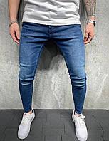 Зауженные однотонные джинсы синие мужские, 2yPremium турецкие синие джинсы (осень, весна, демисезонные )