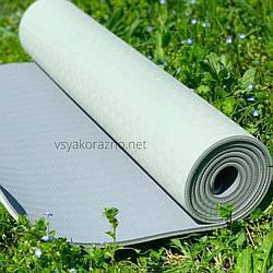 Коврик для йоги и фитнеса  двухцветный/ Килимок для йоги та фітнесу 173 x 61 x 0,6 см (зеленый)