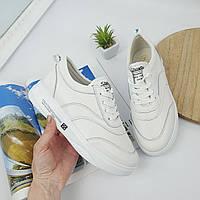 Женские кроссовки мокасины белые натуральная кожа на шнуровке