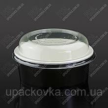 Упаковка для салата из бумаги ЧЕРНАЯ 750 мл., d-150, h-56мм. 50шт/уп, 6уп/ящ.