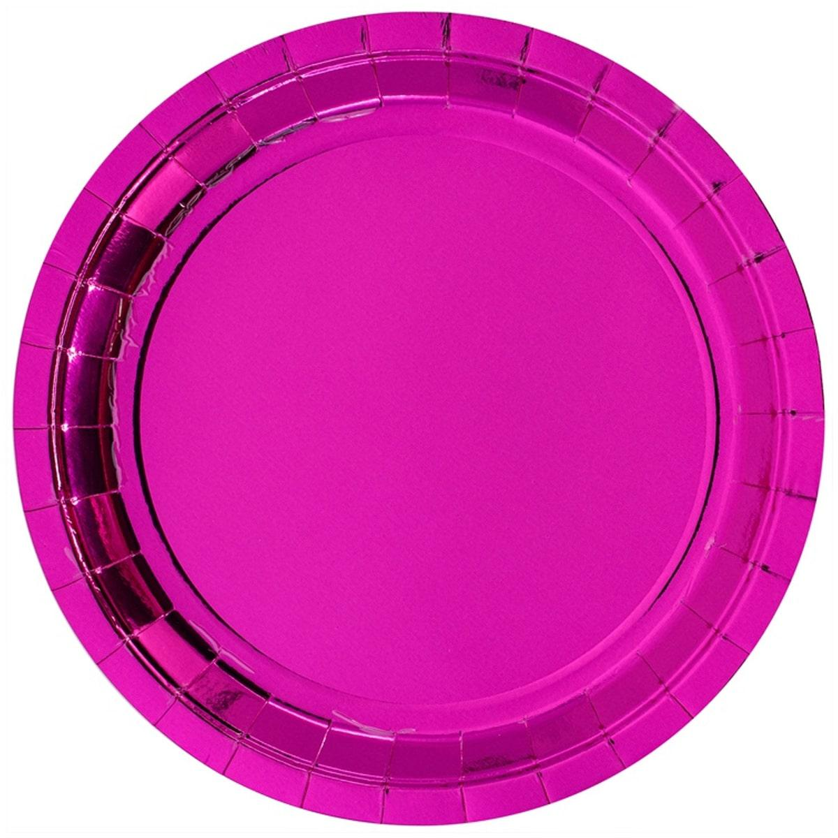 Тарелка фольг ярко-розовая 10 шт