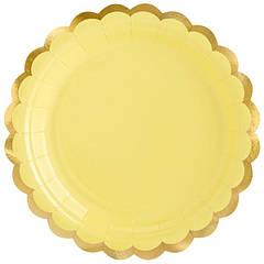 """Паперові тарілки """"Жовті із золотою окантовкою"""" (6 шт.)"""