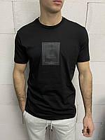 Мужская стильная футболка с принтом черная