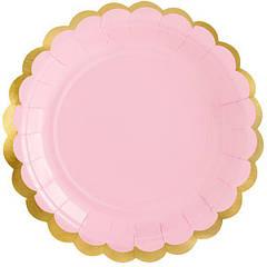 """Паперові тарілки """"Рожеві із золотою окантовкою"""" (6 шт.)"""