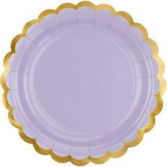 Паперові тарілки ніжно-бузкові (6 шт)
