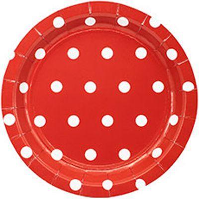 Тарелка Горошек красная 17см 6шт