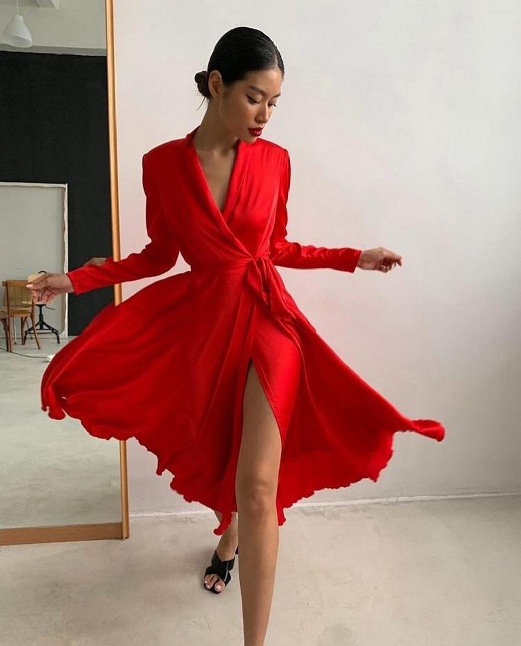 Платье миди на запах с длинным рукавом, из шелка Армани, 00619 (Красный), Размер 46 (L)