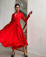 Плаття міді на запах з довгим рукавом, з шовку Армані, 00619 (Червоний), Розмір 46 (L), фото 2