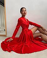 Плаття міді на запах з довгим рукавом, з шовку Армані, 00619 (Червоний), Розмір 46 (L), фото 5