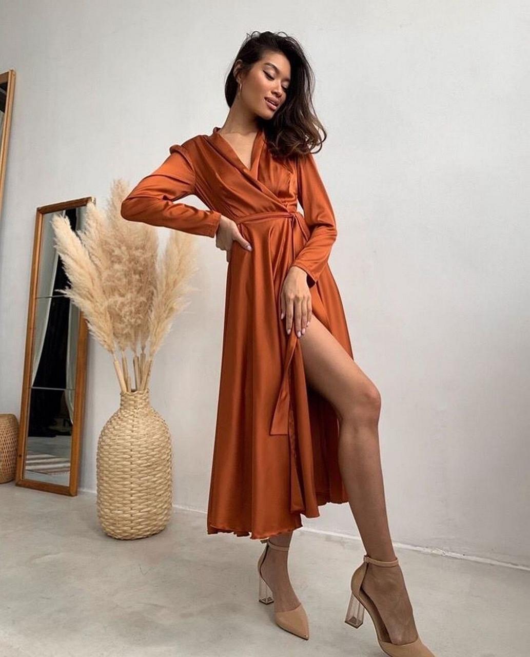 Жіноче шовкове плаття на запах з пишною спідницею, 00620 (Коричневий), Розмір 46 (L)