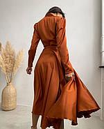 Жіноче шовкове плаття на запах з пишною спідницею, 00620 (Коричневий), Розмір 46 (L), фото 3