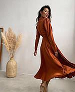 Жіноче шовкове плаття на запах з пишною спідницею, 00620 (Коричневий), Розмір 46 (L), фото 5