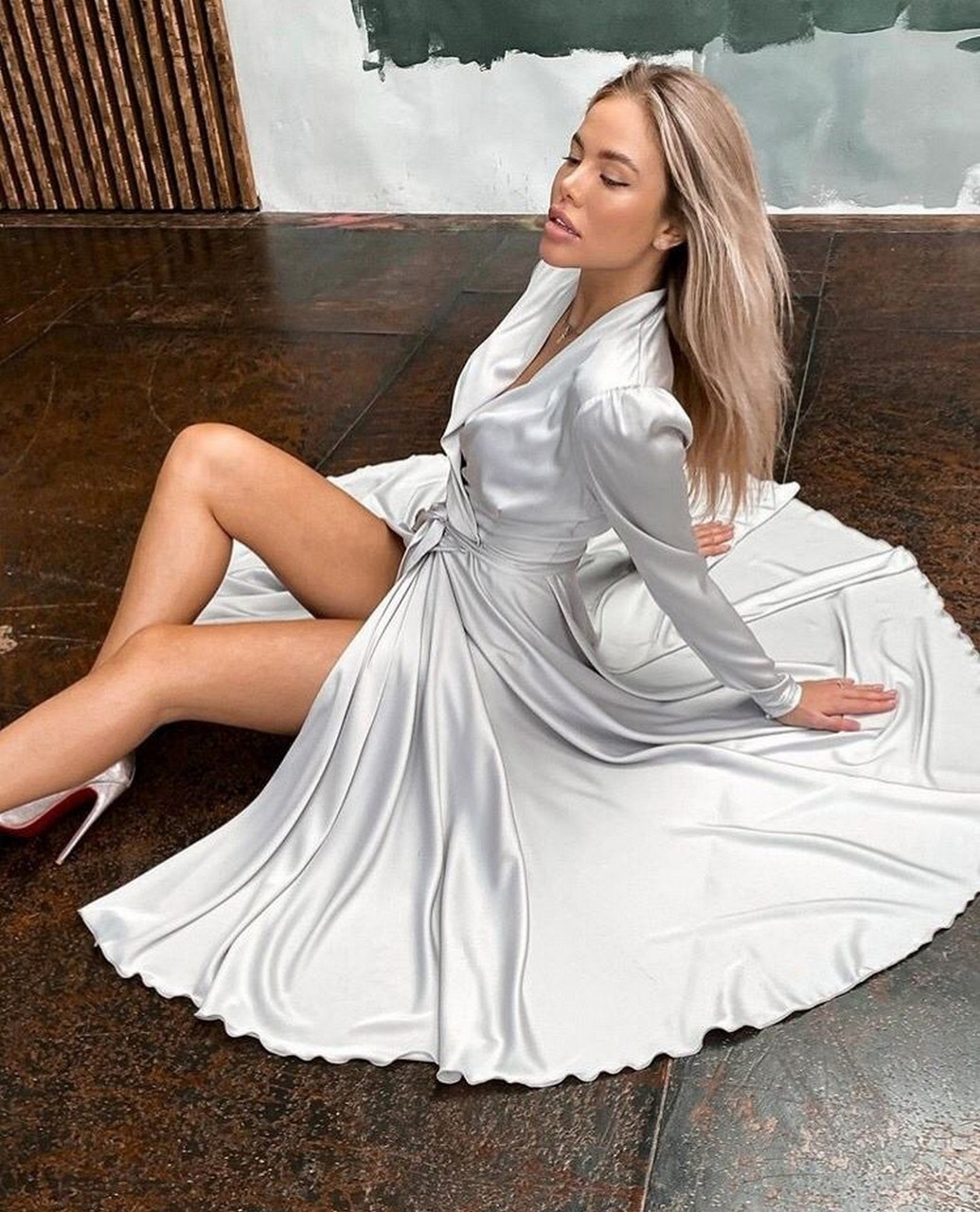 Нарядне жіноче плаття з шовку на запах з поясом, 00618 (Білий), Розмір 44 (M)