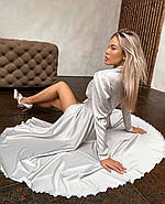 Нарядное женское платье из шелка на запах с поясом, 00618 (Белый), Размер 44 (M), фото 3